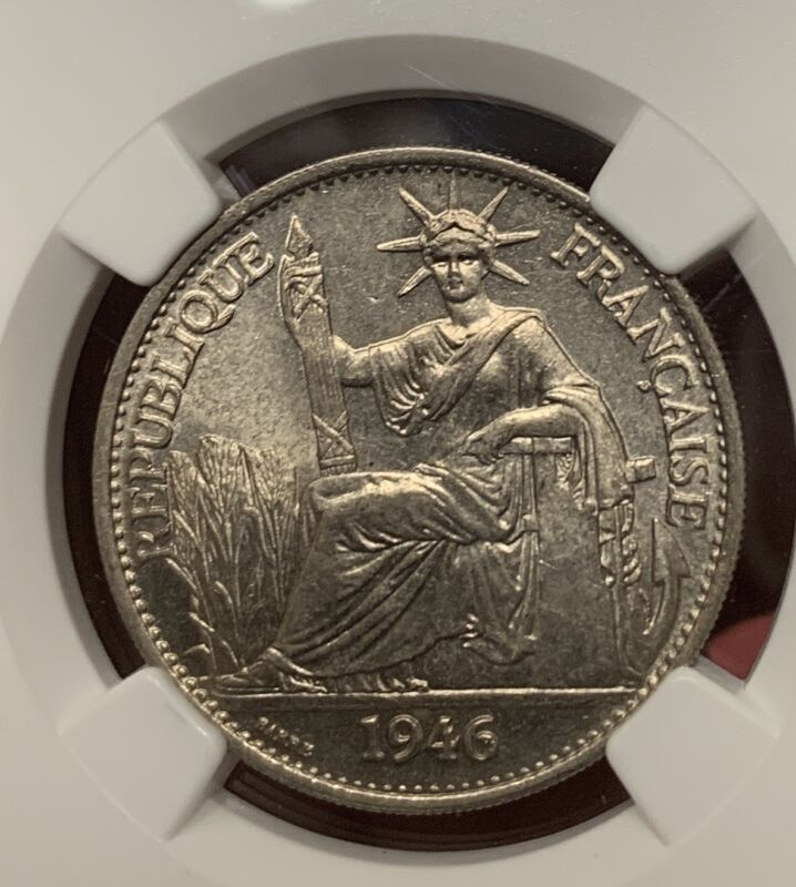 1946 French Indo China 50 Cents Silver Coin NGC MS63