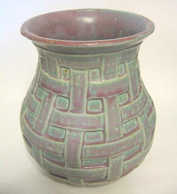 Mid-Century Studio Art Pottery Vase AVS Ceramic Hand Thrown Woven Texture 1965