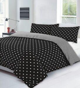 new single bed polka dot stripe duvet set quilt cover black white reversible ebay. Black Bedroom Furniture Sets. Home Design Ideas