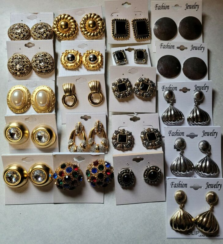 Lot of costume jewelry clip on earrings