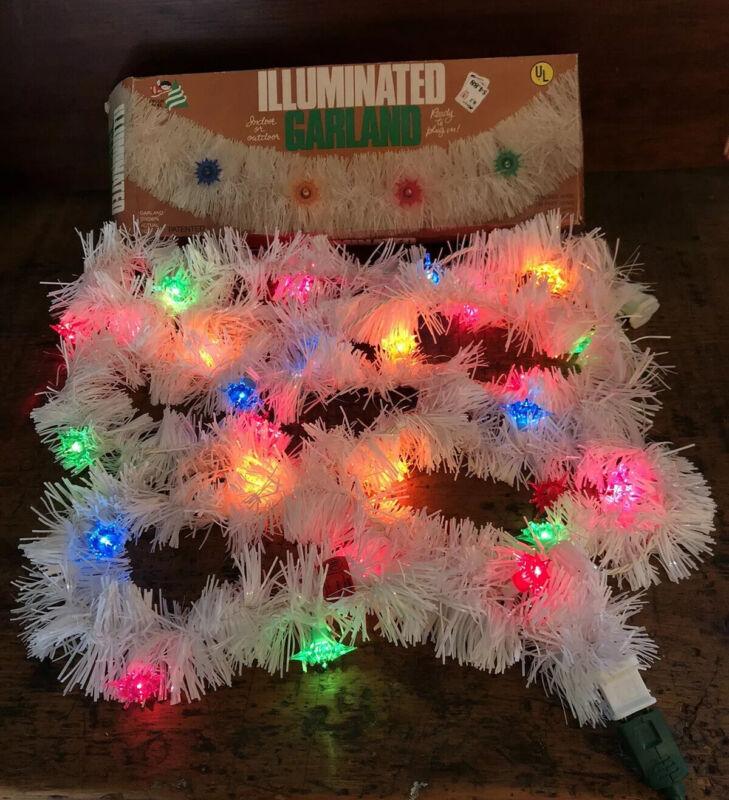 Vtg White Plastic Lighted Christmas Illuminated Garland 25 Lite MCM Decor Noel