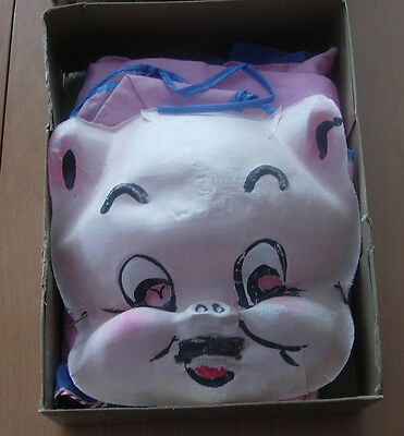 PORKY PIG HALLOWEEN COSTUME  COLLEGEVILLE  EARLY FABRIC MASK AND BODY SUIT BOXED - Porky Pig Halloween Costume