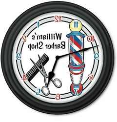 REVERSE MIRROR Barber Shop PERSONALIZED Wall Clock Hair Style Cut Backwards GIFT