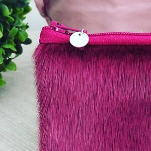 Hot Pink Seal Fur Coin Pouch