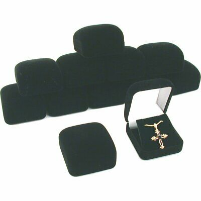 12 Black Flocked Earring Pendant Gift Boxes