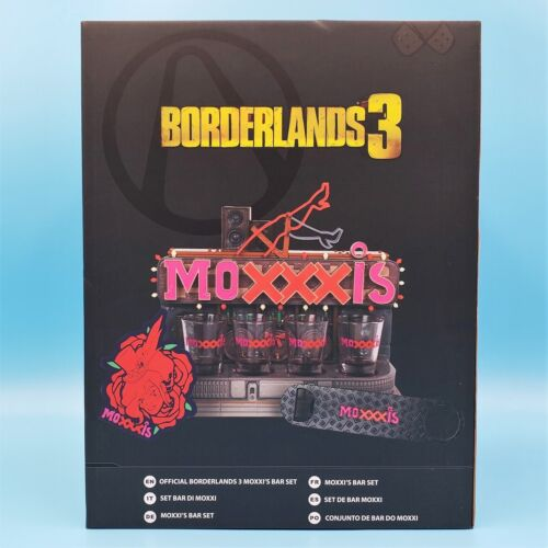 Offiical Borderlands 3 Mad Moxxi Bar Set - Shot Glasses Coasters & Bottle Opener