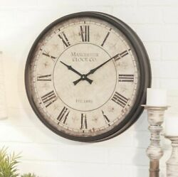 Large Rustic Vintage Metal Wall Clock Round Elegant Antique Style Accent Decor
