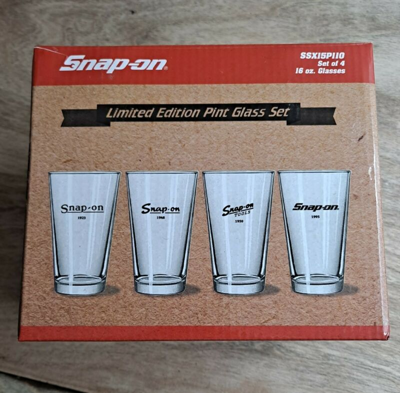 Snap-on Limited Edition Pint Glass Set of 4 - Logos from 1923 1948 1950 1995