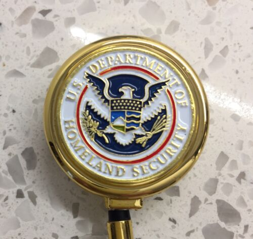 CBP TSA ID Holder with Metal Case Retracable Reel