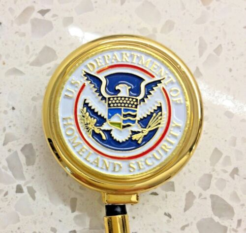 CBP TSA ID Holder with Metal Case Retractable Reel