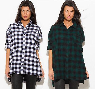- Women's Plaid Flannel Boyfriend Oversized Button-Down Cotton Tunic Shirts NEW