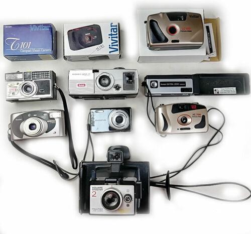 10 Cameras Polaroid Kodak Vivitar Olympus Some Vintage, Untested