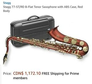 STAGG 77-SY/RD B-Flat Tenor saxophone with ABS Case, Red Body