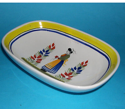 Henriot Quimper Pottery - Attractive Decorative Colourful Oblong Dish (Signed).