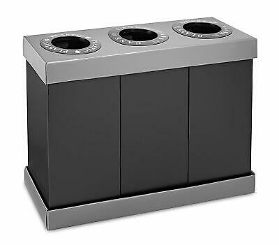 Recycle Trash Cans (Alpine Industries 28 Gallon Recycling Indoor Corrugated Plastic 3 Bin Trash)