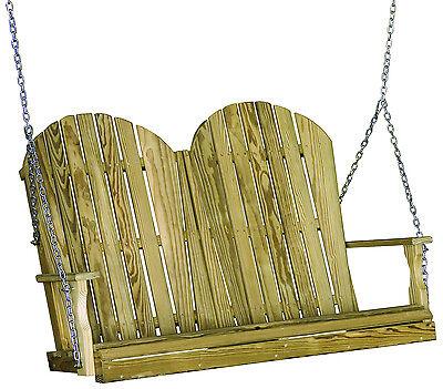 Outdoor Treated Yellow Pine 4 Foot Adirondack Design Porch Swing 4 ft Swing 4' Adirondack Porch Swing