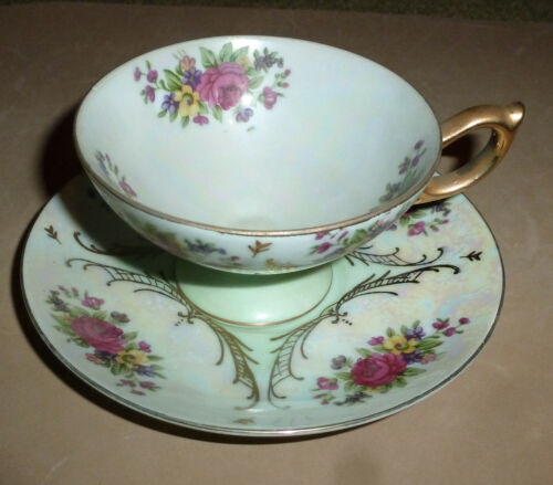 Vintage TEA CUP and SAUCER Green with Pink Roses Gold Trim