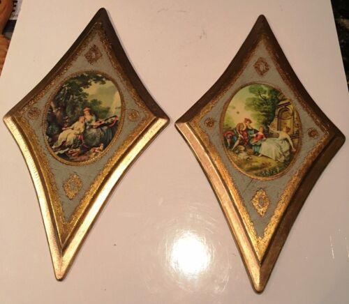 Vintage Florentine Gold Gilt Wood Plaques Set 2 Mid Century Italy Diamond Shaped