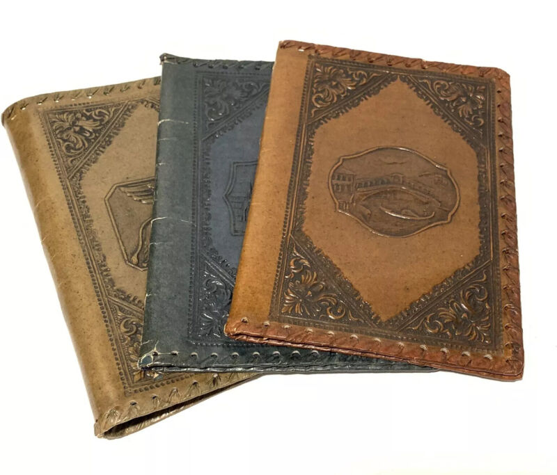 Vintage Hand Tooled Embossed Leather Journal/Book Covers 1 Blue 1 Tan 1 Brown 📖