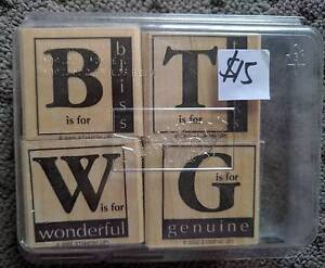 Stampin Up 'Around the Block' Stamp Set.4 Wood Mounted.Never Used Narangba Caboolture Area Preview
