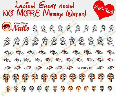 Denver Broncos Clear Vinyl PEEL and STICK (NOT Waterslide) nail decals/stickers - Denver Broncos Nail Decals