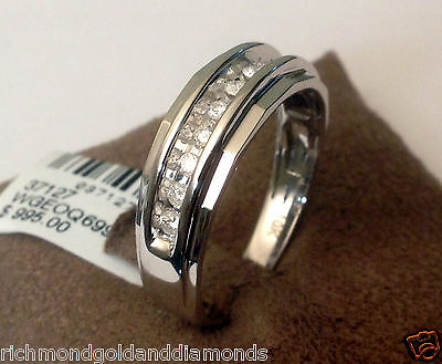 7mm Mens Wedding Anniversary Diamonds Ring Band White Gold chennel Set Size 11