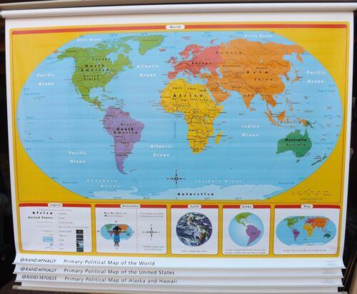Rand McNally Retractable pull down Maps  WORLD United States Alaska  political