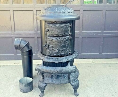 Antique Cast Iron Round Oak D18 Dowagiac MI Beckwith Wood Burner Stove RESTORED