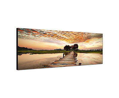 Panoramabild -150x50cm Sonnenuntergang  Keilrahmenbild Leinwand modern