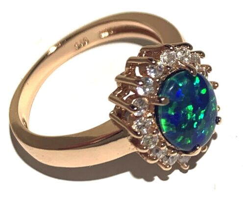 Charming Rose Gold Opal Ring with Cubic Zirconia Triplet opal Ring