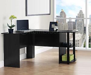 black l shaped desk corner computer home office writing secretary gaming table. Black Bedroom Furniture Sets. Home Design Ideas