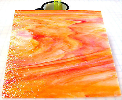 """110 Mosaic Tiles 1/2"""" ORANGE SUNSET Pink Orange Gold Rough Roll Stained Glass"""