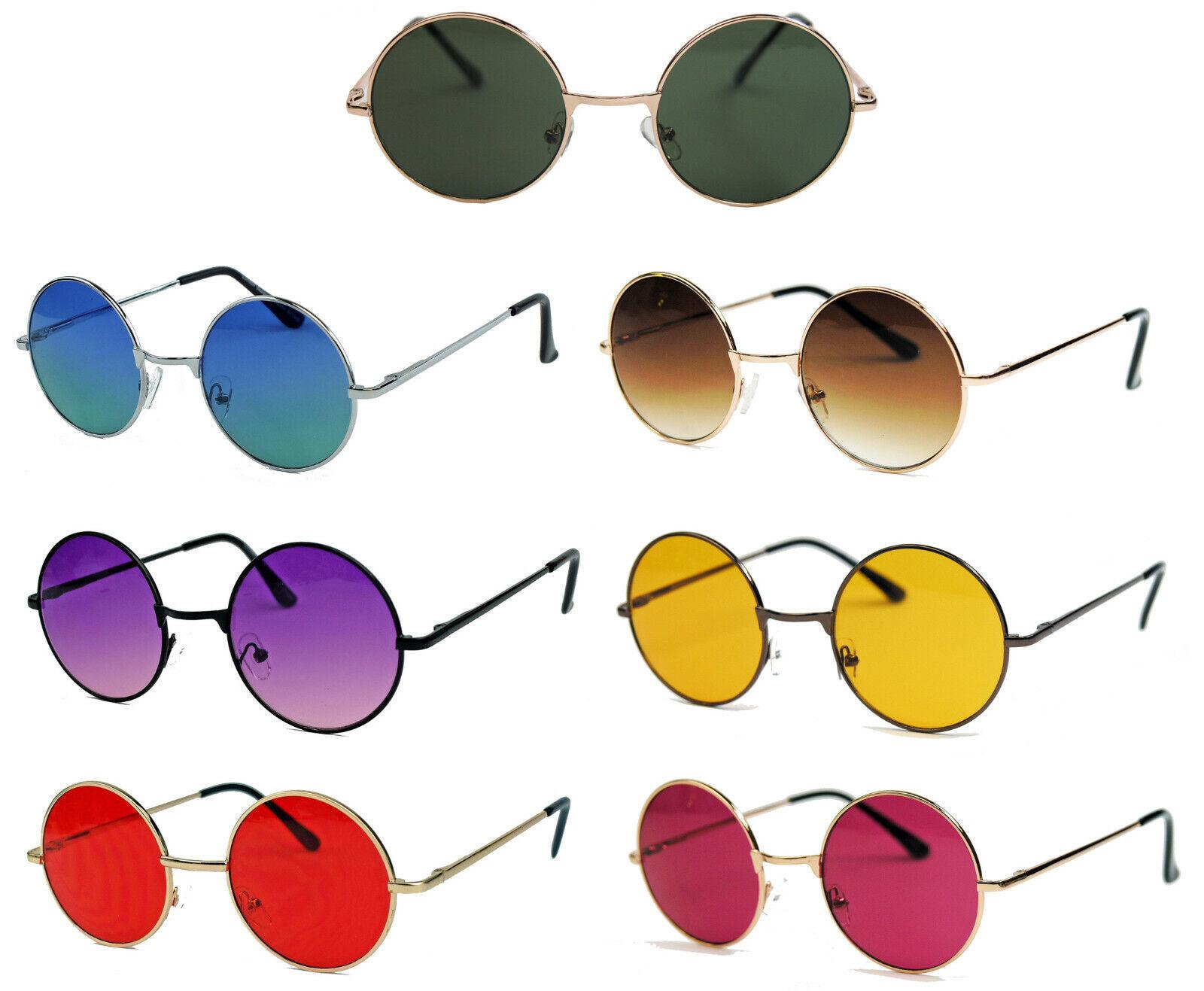 Runde Retro Sonnenbrille Metall Gestell Nickelbrille Steampunk Lennon Hippie Emo