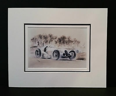 Mercedes 125 at Donnington 1937 by Bob Murray Open Edition Print Mounted