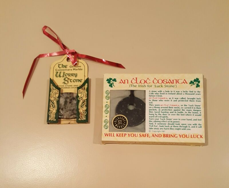 Irish Kilkenny Black Marble An Cloc Cosanta Lucky stone Necklace-Leather Cord ++