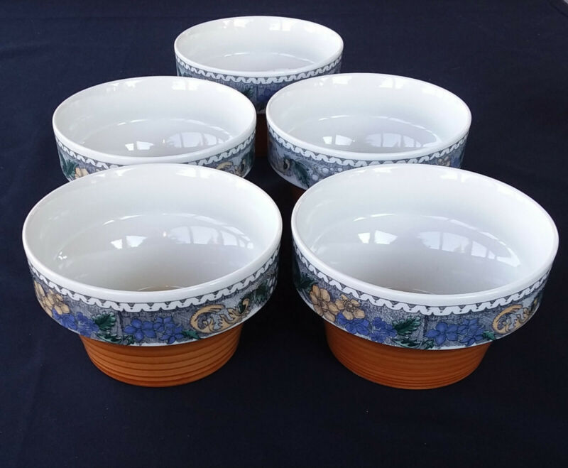 "Goebel Burgund Oeslauer Manufaktur  4 1/2"" Bowls, Bavaria W Germany, set of 5."