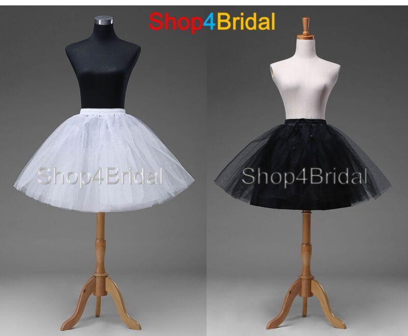 White Black Knee Length Wedding Dress Underskirt Crinoline Petticoat Slips