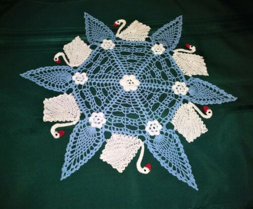 """SIX SWANS-A-SWIMMING HAND-CROCHETED DOILY 19 """"  NEW TABLE TOPPER STUNNING"""
