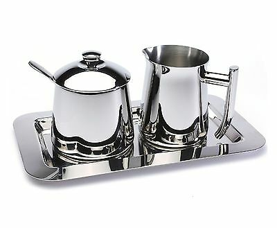 Frieling Stainless Steel Sugar Bowl W  Spoon   Creamer With Tray