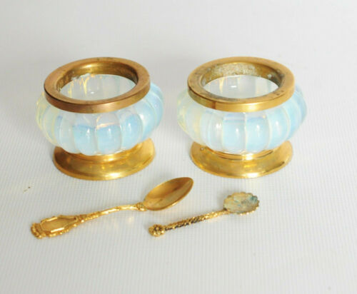 Pair Of Antique French Opaline Salts Footed 19th Century