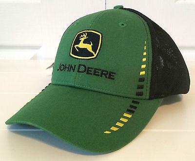 Hat Trick Clothing (John Deere Green Fabric & Black Cloth Mesh Hat Cap w Block Embroidery)