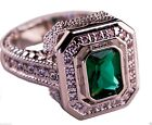 Emerald 6 Ring CZ, Moissanite & Simulated Stone Engagement Rings