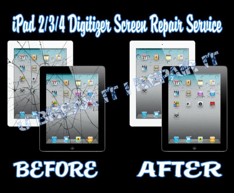 Ipad 2/3/4 Broken Cracked Glass Digitizer Screen Repair Service