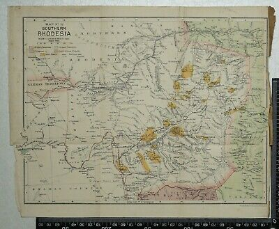 1896 Vintage Philip's Map - Southern Rhodesia