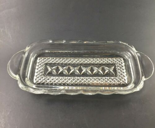 Vintage Crystal Glass Clear Anchor Hocking Wexford Pattern Butter Dish No Lid