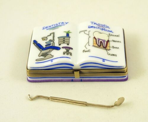 New French Limoges Trinket Box Professional Dentistry Book w Remov. Dental Tool