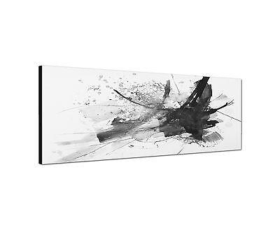 150x50cm Panoramabild Schwarz Weiss - Abstraktes Gemälde dicke Pinsel