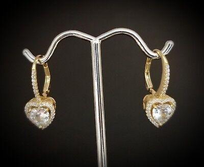 14k Gold Over 925 Sterling Silver Diamond Heart Drop Dangle Leverback Earrings  Diamond Heart Leverback Earrings