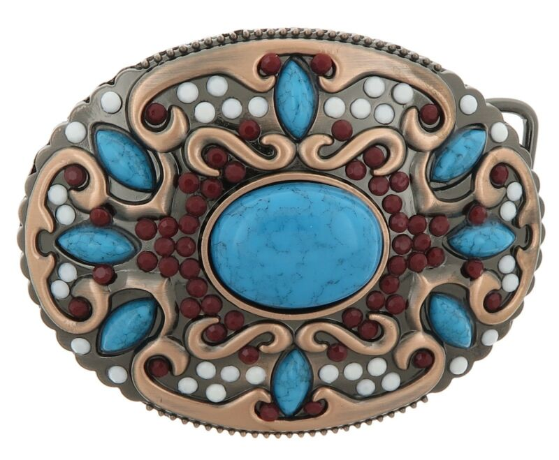 Native American Indian Turquoise Stone Western Metal Fashion Belt Buckle