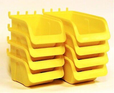 8 New Yellow Parts Storage Bins - Hooks To Peg Tool Board - Workbench Pegboard
